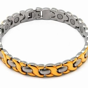 New 316 stainless steel magnetic two tone bracelet